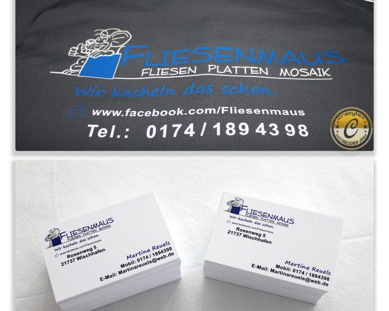 Schöne Arbeitsjacken für den Winter und eine Nachbestellung für Visitenkarten für unsere Kundin Fliesenmaus - Ihre professionelle Fliesenlegerin aus Wischhafen.
